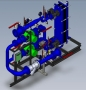 Модульный тепловой пункт для отопления (вентиляции) с независимым присоединением к теплосети через теплообменник